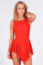 dress,ladies,red,hi-low,midi,popcoutureclothing,pleated,summer dress