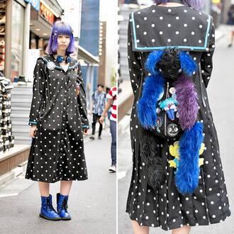 coat blue black dress shoes asian japanese harajuku kawaii cute creepy grunfe purpfe hair lovely jacket girl kpop lolita japan fur student hentai