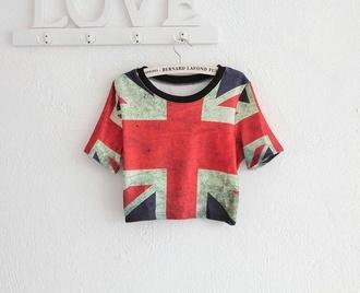 shirt urban fashion cute crop tops union jack