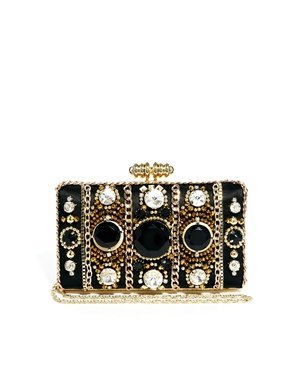 River Island | River Island Gold Embellished Box Clutch at ASOS