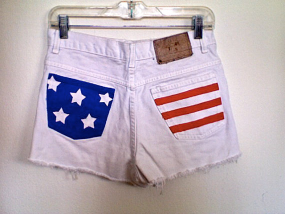 High waisted white flag stars and stripes by waistedyouth on etsy