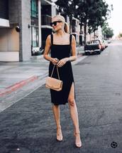 dress,midi dress,black dress,sleeveless,high heel sandals,sandals,shoulder bag,sunglasses