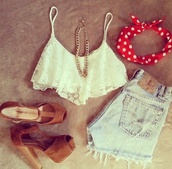 t-shirt,clothes,crop tops,white,lace,scarf,shorts,shoes