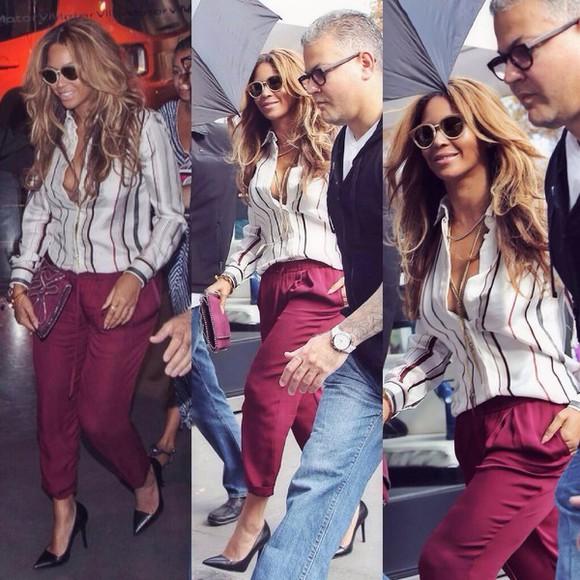 pants red pants red blouse beyoncé shirt beyoncé knowles paris stripes white sunglasses gray