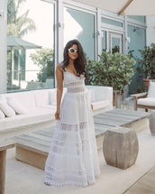 dress,maxi dress,white dress,long dress,lace dress,sunglasses,white sunglasses