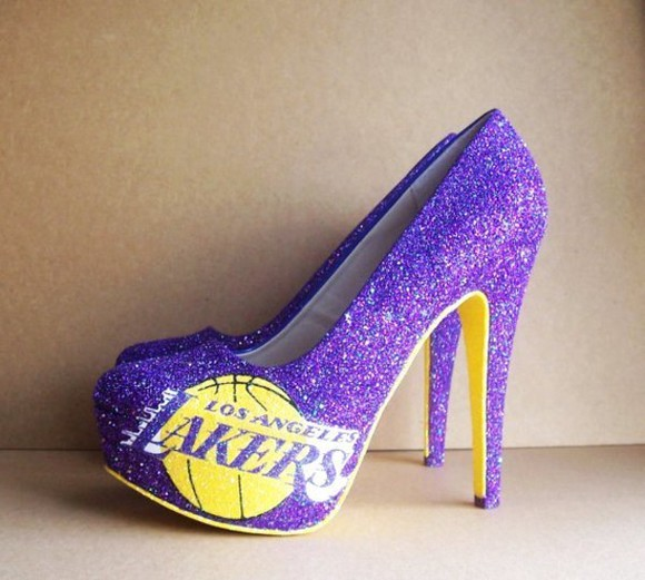 shoes cute pretty purple yellow lakers high heels los angeles california sparkles basketball