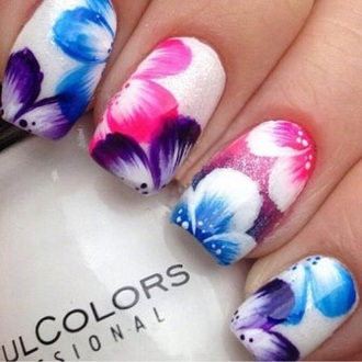 nail polish nail art colorful flowers floral colourful print bright