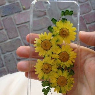 jewels bag phone cover daisy clear case iphone case iphone iphone 5 case cute yellow pale flowers