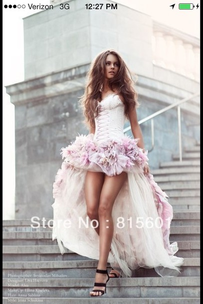 Dress Hi Low Dresses Wedding Dress Corset Dress Prom Dress Pink