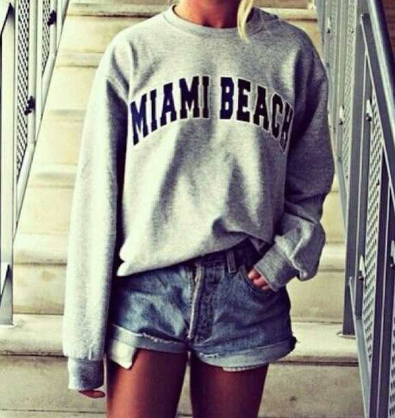 sweater jumper denim shorts