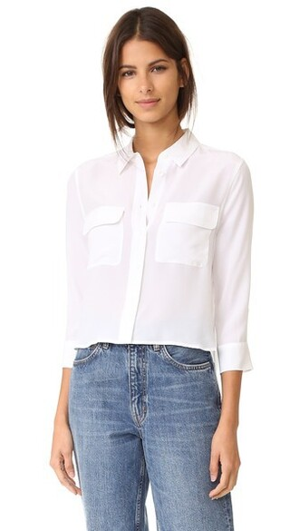 blouse cropped white bright top