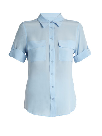shirt short silk light blue light blue top