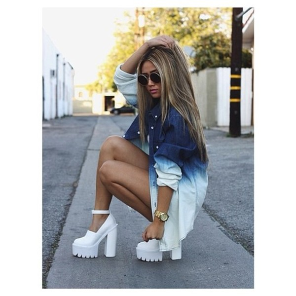 shoes white blouse dye dip dyed dip dyed spiker jeans heels shirt sunglasses ombre shirt glasses jacket denim jacket faded blue oversized chemise sweater watch ombre cleated sole