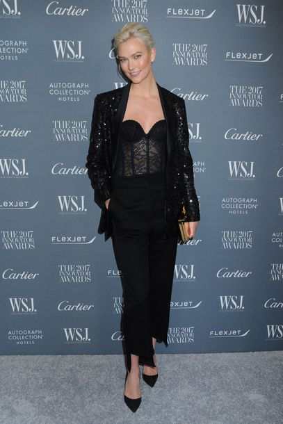 top bustier all black everything karlie kloss pumps jacket model off-duty