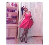 dress,andrea russett,pink dress,pink,summer dress,cut-out dress,hot pink,shoes,andrearussett,prettydress