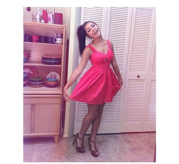 4c2fc9b485a dress andrea russett pink dress pink summer dress cut-out dress hot pink  shoes andrearussett