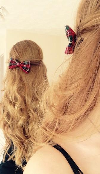 hair bow hair accessories hair clip tartan red little bow cute bows