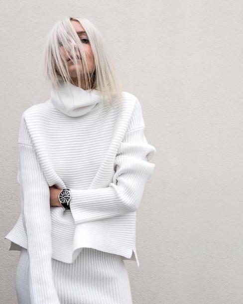 le fashion image blogger sweater top white sweater