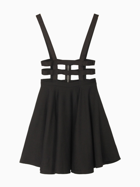 Cut Out High Waisted Black Skirt With Shoulder Straps Choies