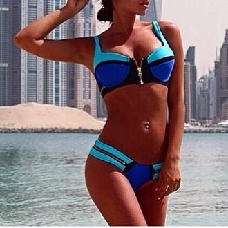 swimwear ayamare black swimwear yellow swimwear neon swimsuit summer vacation light blue yellow yellow/black beach sexy