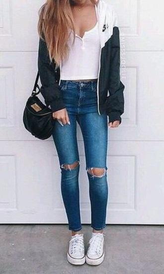 blouse nike jacket white crop tops blue jeans black bag