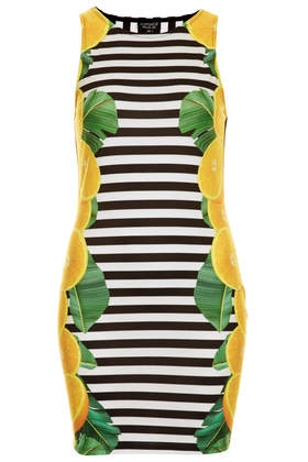 Stripes and Lemon Print Bodycon Dress - Topshop USA