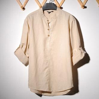 shirt long sleeves beige beige shirt off-white cream button up monochrome minimalist unisex hipster menswear menswear mens shirt