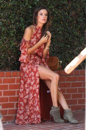 dress ankle boots alessandra ambrosio boho dress floral dress maxi dress model