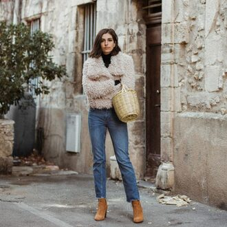 aria di bari blogger jacket coat jeans bag sweater shoes tumblr nude jacket fuzzy jacket denim blue jeans boots brown boots suede boots basket bag