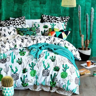 home accessory cactus cactus bedding bedding blue green quilts bed room set bedroom goals