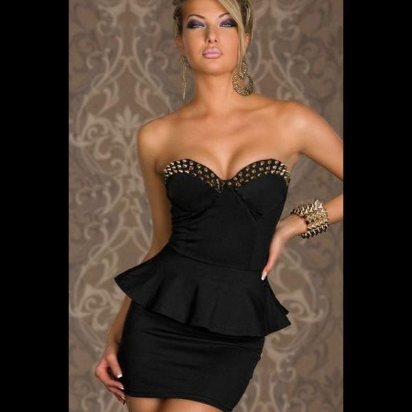 Hot black cream stud embellished strapless bodycon peplum club party dress