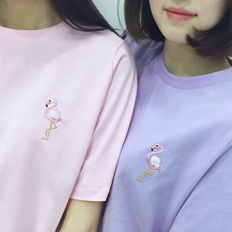 top t-shirt shirt pink flamingo purple kawaii pastel soft grunge baby pink lilac grunge tumblr