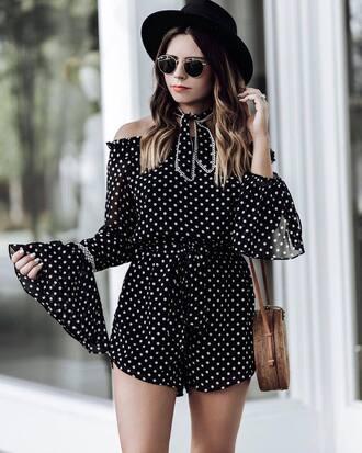 romper hat round bag tumblr black romper polka dots bell sleeves felt hat sunglasses bag