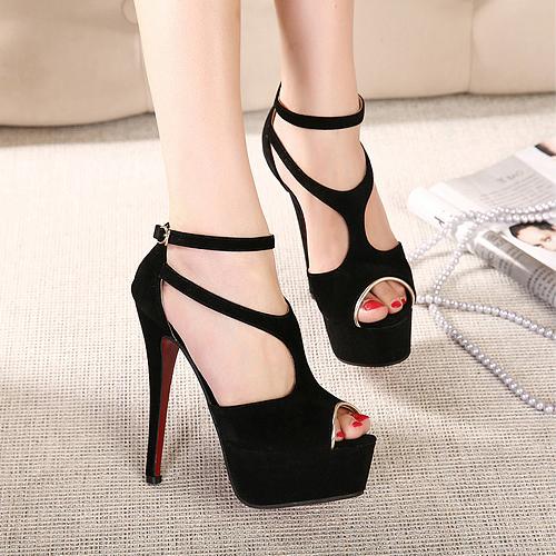 Cheap Fashion Stiletto High Heels Black PU Sandals