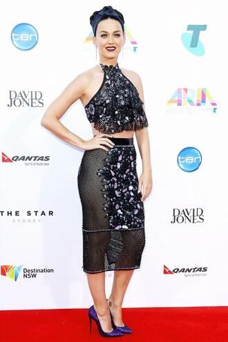 sheer mesh black top skirt katy perry pencil skirt