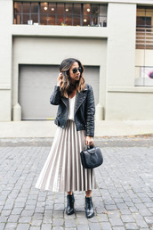 crystalin marie,blogger,skirt,tank top,jacket,shoes,sweater,jewels,sunglasses,metallic pleated skirt,midi skirt,pleated skirt,black leather jacket,midi leather skirt