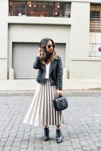 crystalin marie blogger skirt tank top jacket shoes sweater jewels sunglasses metallic pleated skirt midi skirt pleated skirt black leather jacket midi leather skirt