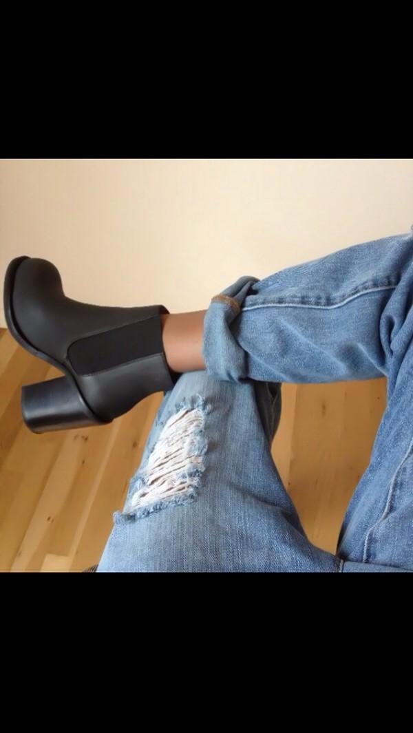 shoes black boots jeans boyfriend jeans boots ankle black leather heel