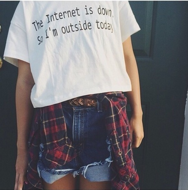 white t-shirt internet tshirt quote on it nerd shirt jacket shorts