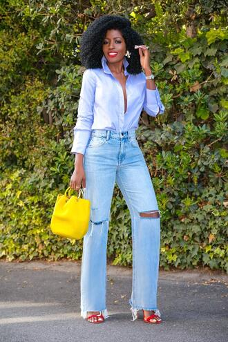 blogger shirt jeans shoes yellow bag sandals blue shirt high red heels red heels spring outfits