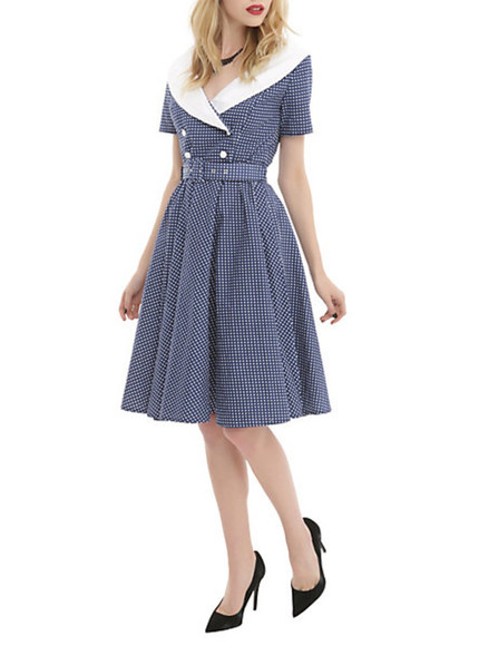 Pin up dress vintage pin-up swing dress navy blue white collar dress belted dress
