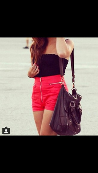 black tube top red shorts cute summer outfits outfits