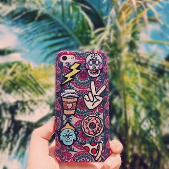 phone cover peace sign starbucks coffee donut skull pizza patch