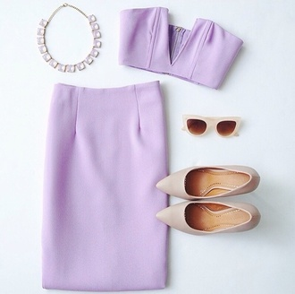 dress top bottoms skirt knee length shoes lilac dress lilac sunglasses glasses ootd outfit of today outfit fashion formal dress v neck dress jewels