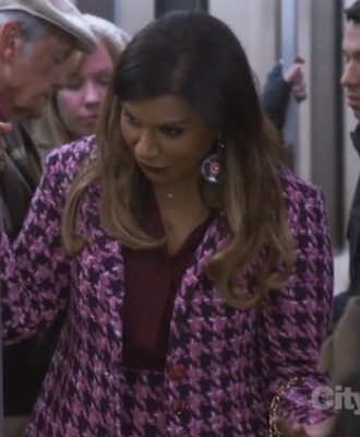 coat the mindy project mindy kaling mindy lahiri earrings shirt pink and black