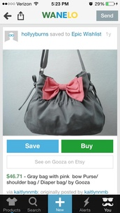 bag,grey,pink bow,purse