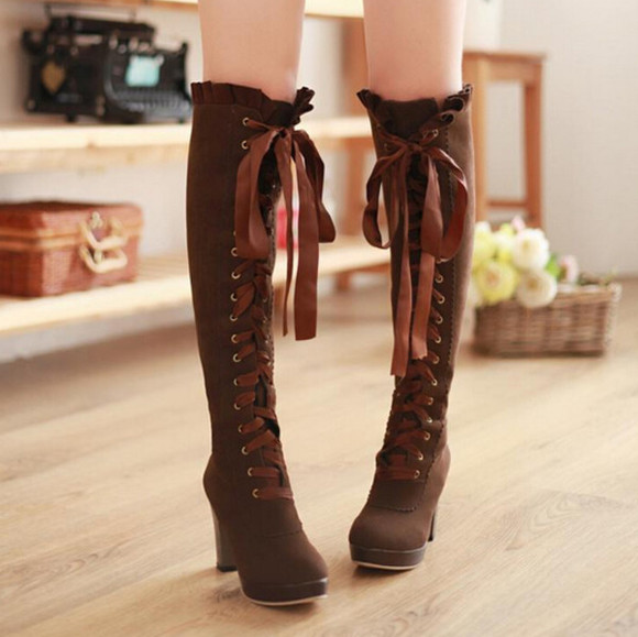 ribbon boots knee high boots