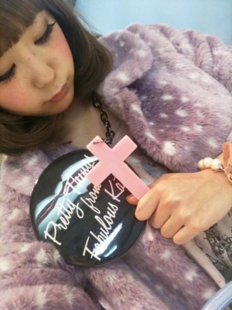 jacket fur purple pink white tumblr cute fawn fawn fur kitchie cross asian japan fabulous japanese badge kawaii