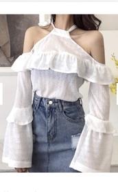 blouse,girly,girl,girly wishlist,white,white top,cold shoulder top,ruffle,ruffled top,white shirt