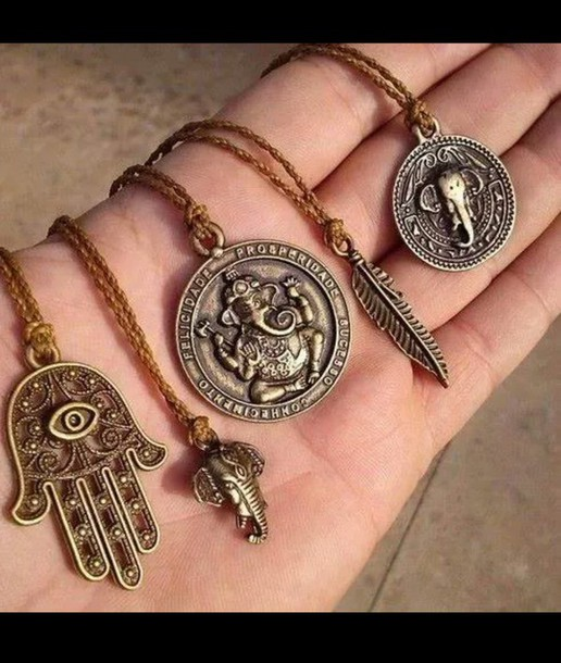 jewels ganesha ganesh goa india fether elephant hamsa pendant necklace hand hippie spiritual charm